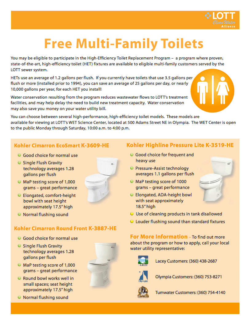 Receive a free HET toilet from the LOTT Alliance. Download the PDF form at this link.