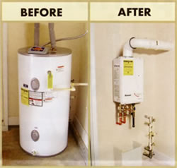 Before and after of tankless water heater installation